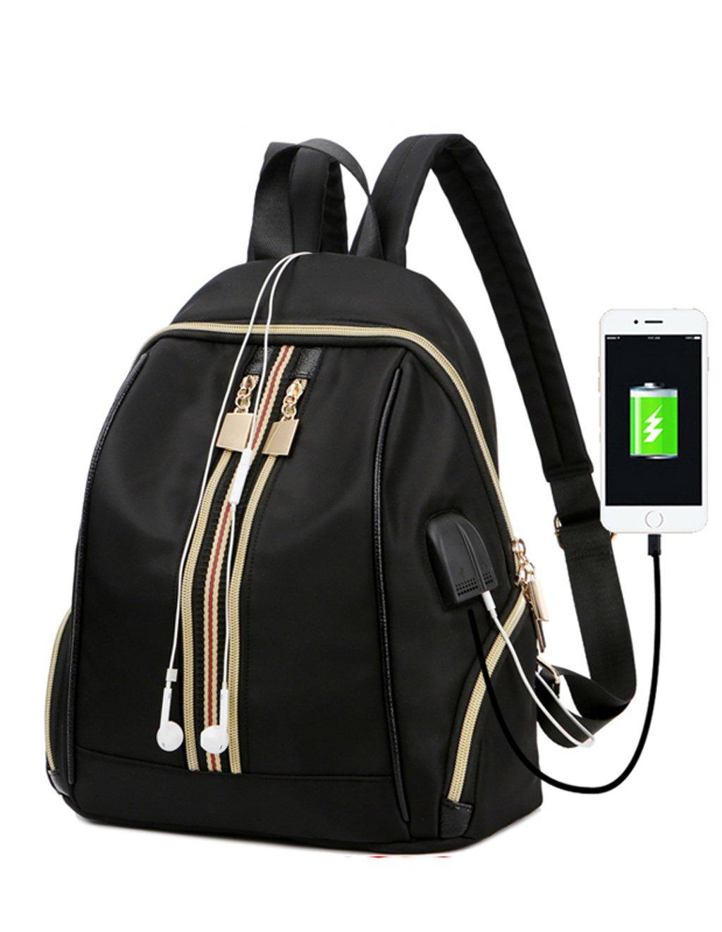 DZC Fashion nylon camouflage waterproof knapsack female Laptop Bag Girl handbag USB charging interface headphone interface school bag (black)