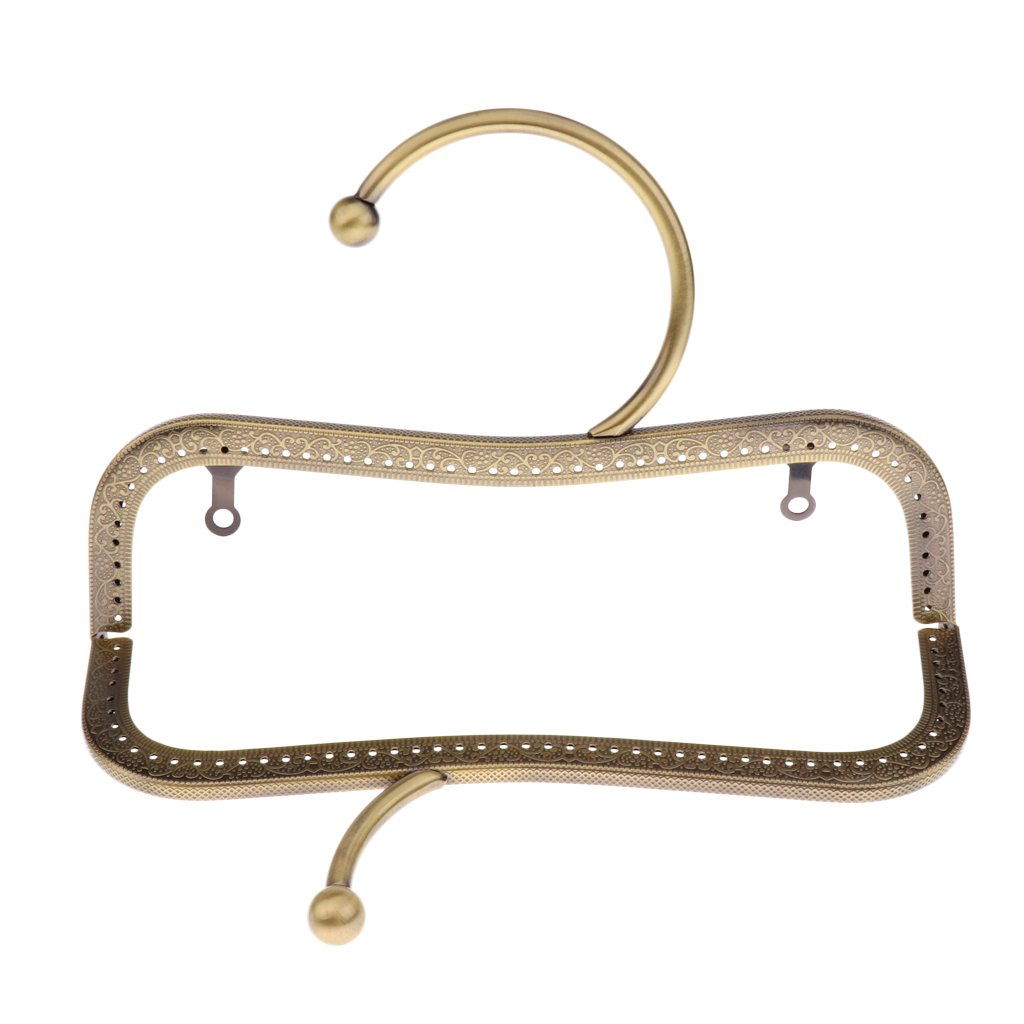 Style 1-Antiqued Brass MagiDeal Antiqued Brass Gold Tone Purse Bag Metal Arch Frame Kiss Clasp Lock as described
