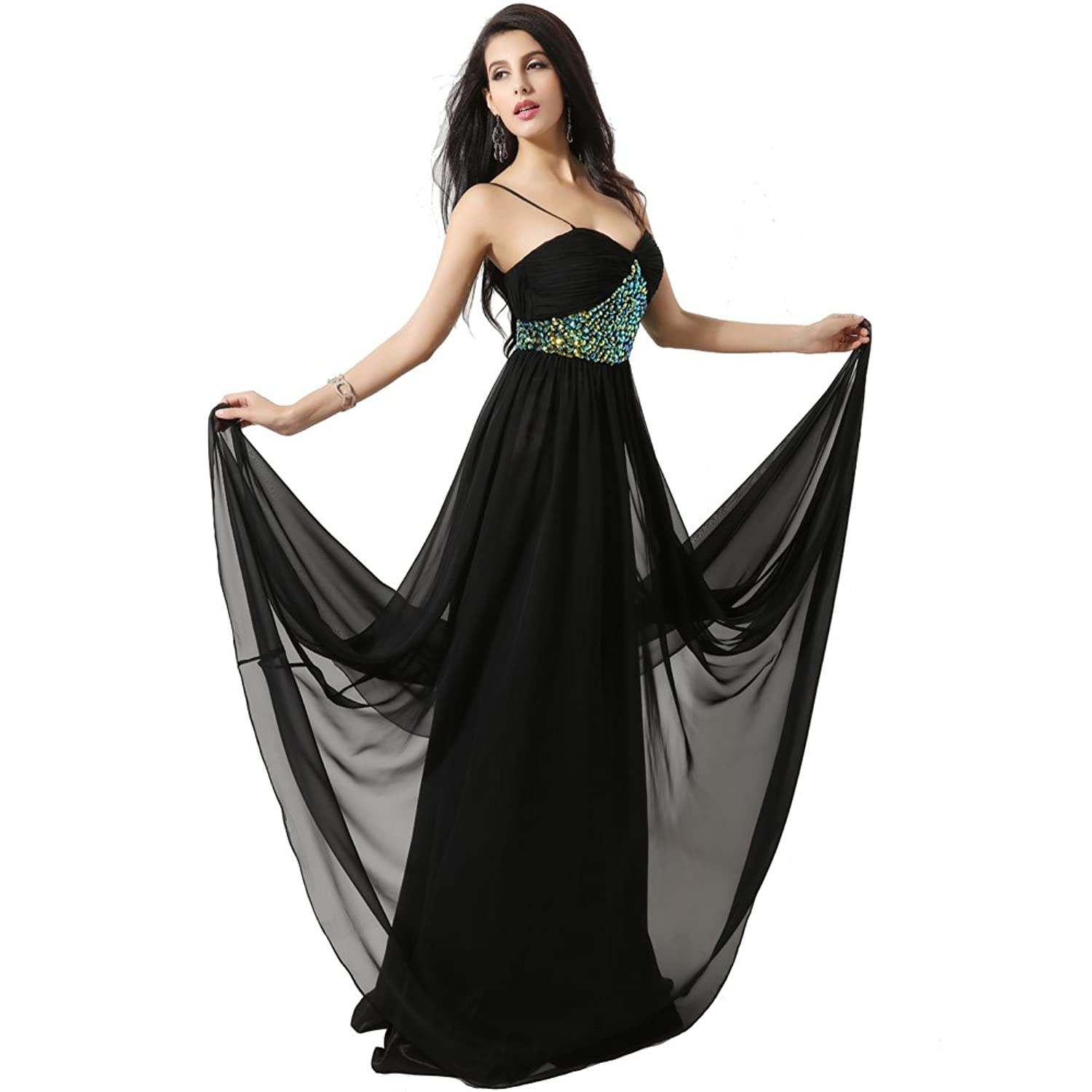 XinGe Women's Spaghetti Strap Formal Party Bridesmaid Evening Dress Long Chiffon Prom Gown