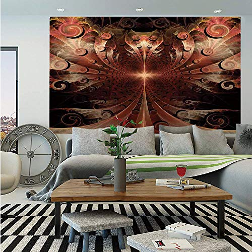 SoSung Fractal Huge Photo Wall Mural,Gothic Medieval Heraldic Ornamental Background Middle Age Knight Aged Artwork Print Decorative,Self-Adhesive Large Wallpaper for Home Decor 100x144 inches,Copper ()