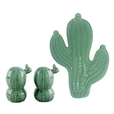 Ceramic Cactus Shaped Spoon Rest and Cactus Salt and Pepper Shakers