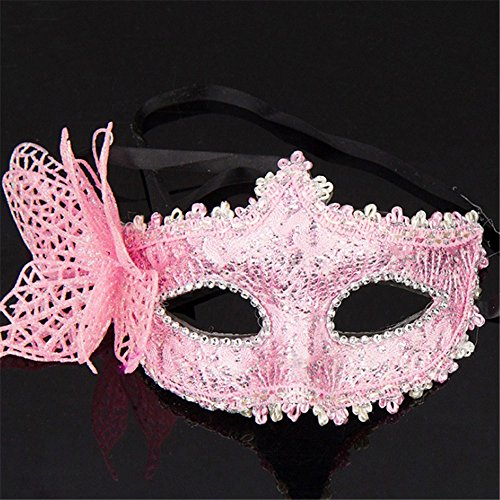 Mardi Gras Party Masquerade Mask,Halloween mask Side Butterfly Half face Princess Venice mask Party Makeup Dance Sexy Fun Party Female Pink Prom Masks