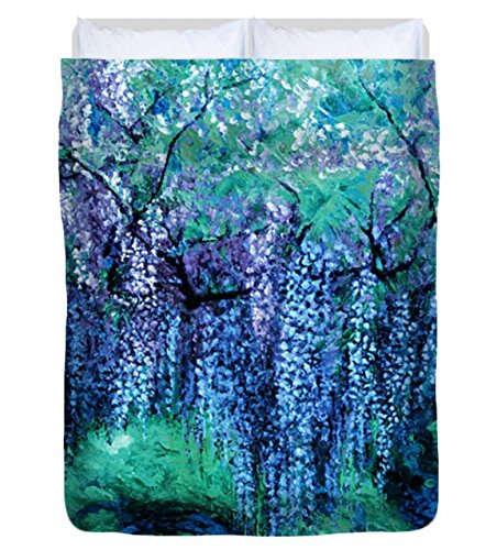 Wisteria Tree Violet - The Wind Whispers Wisteria, Ocean - Duvet Cover, Full