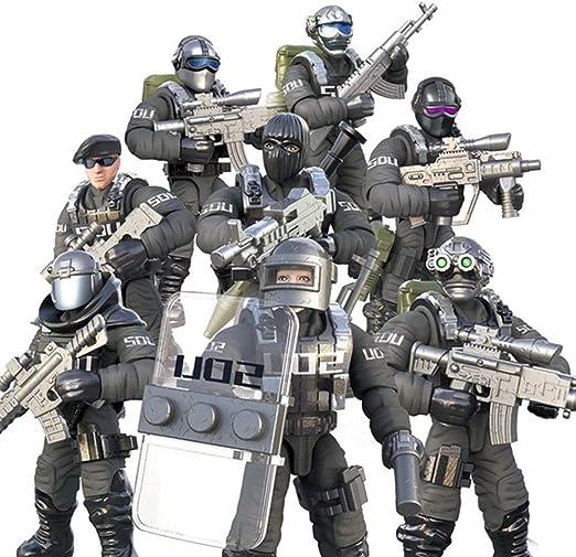 DRAKE18 8 en 1 Figura de acción de los Soldados de Juguete Figuras Militares del Ejército de Combate de Las Fuerzas Especiales Juguetes para los Regalos educativos con Las Armas y Accesorios: