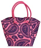 Paisley Jute Bag Pink and Purple SKU-PAS686052, Bags Central