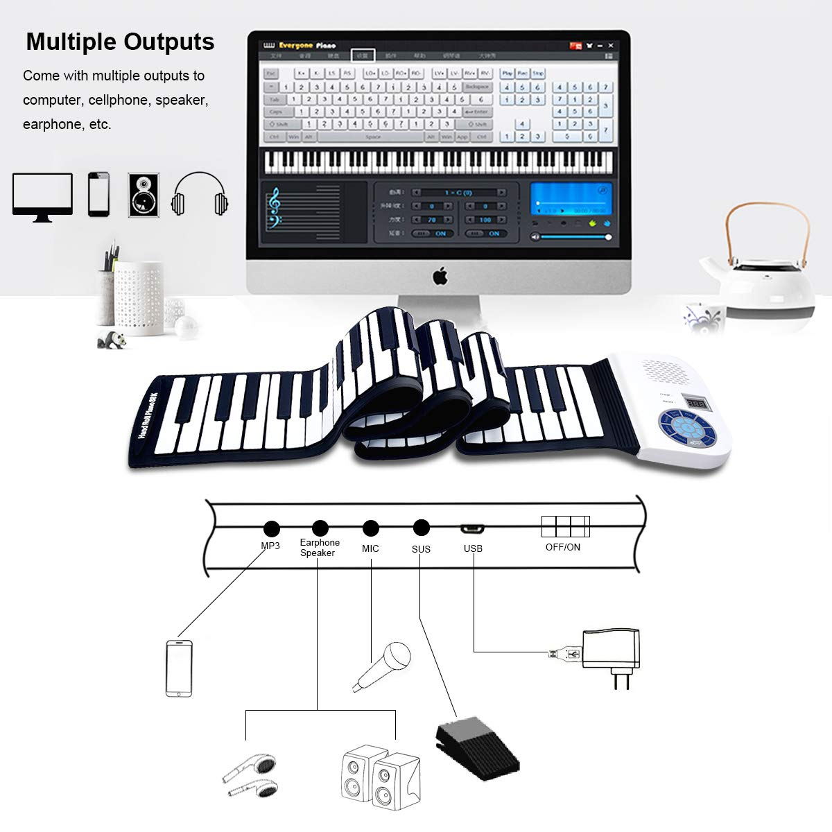 BABY JOY Roll Up Piano, Upgraded Electronic Piano Keyboard, Portable Piano w/Bluetooth, MP3 Headphone USB Input, MIDI OUT, 128 Rhythms, Record, Play, Volume Control (White, 88Keys) by BABY JOY (Image #2)