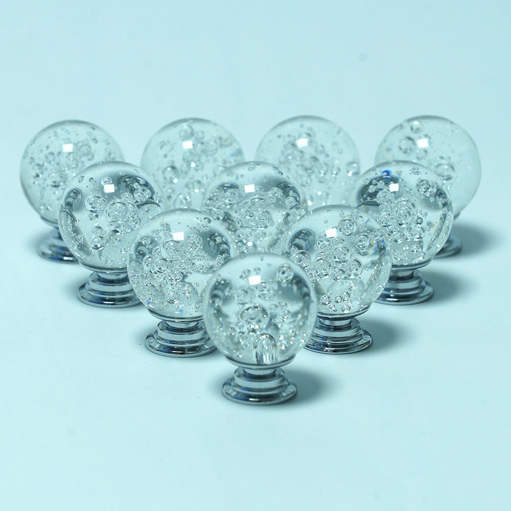 AXAYINC Bubbles Crystal Glass Knob Pull Handle for Furniture Door Drawer Cabinet Dresser Closet Wardrobe Cupboard 30mm (White)