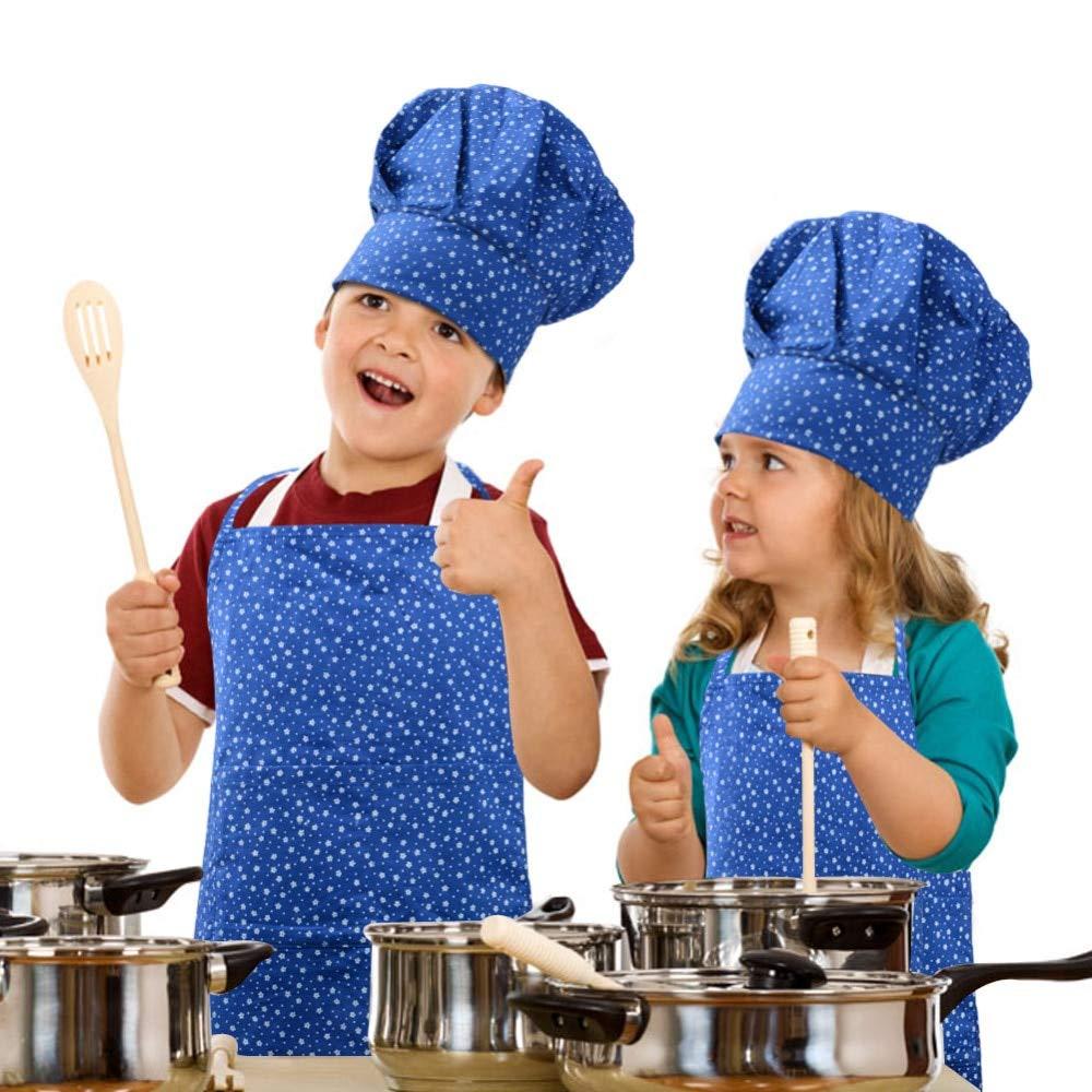 Adjustable Child Apron Kids Sleeve Hat Pocket Kindergarten Kitchen Baking Painting Cooking Drink Food Chef Set