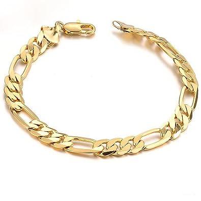 Opk Jewelry18k Gold Plated Powerful Men s Bracelet Figaro Link Chain Gold  Bracelet for Men,8.27 9d910d84f788