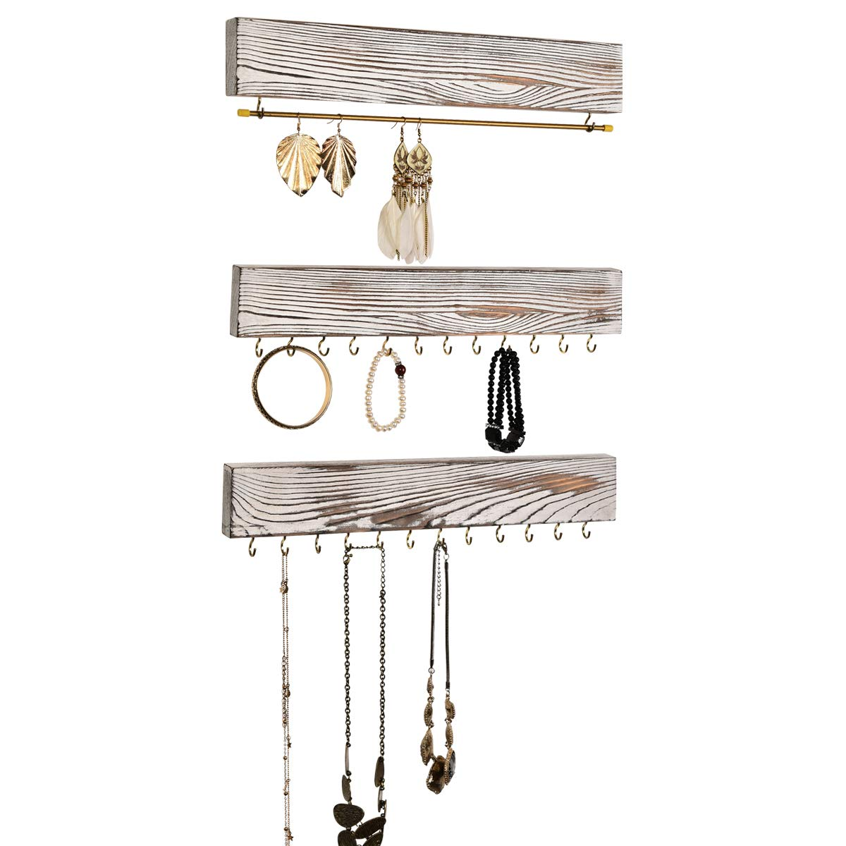 ASHLEYRIVER Wall Jewelry Organizer Set of 3 Wood Hanging Jewelry Organizer Holder for Necklaces, Ear Studs,Rings, Earrings, Bracelets- New White
