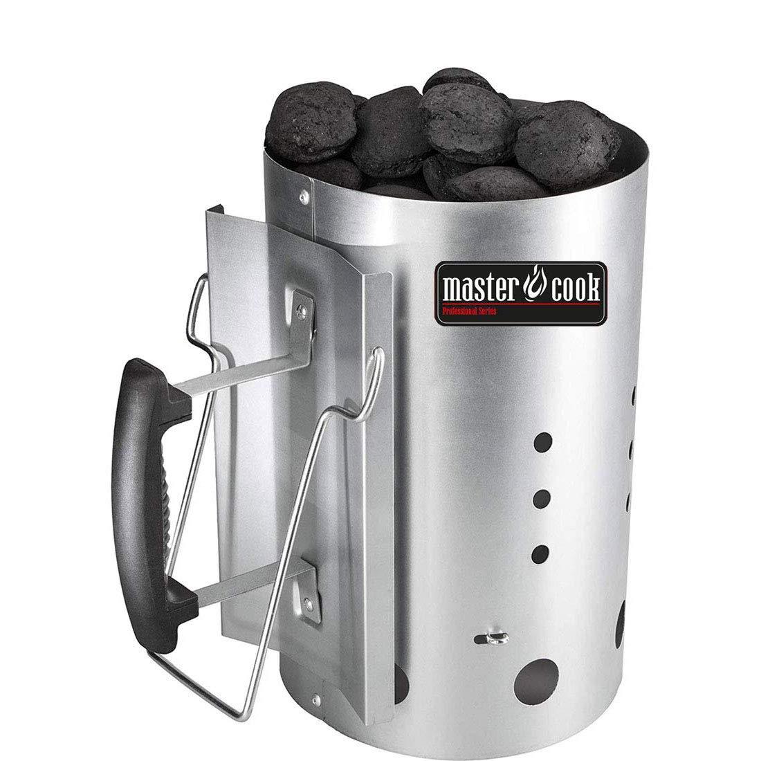 Brigros  MasterCook ® - Kit Accenditore Barbecue, Impugnatura di Sicurezza in Alluminio, Kit ciminiera accensione