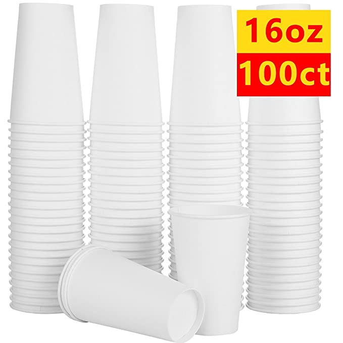 to go paper coffee cups for Hot and Cold Beverages Plain White Coffee Cups 100 Count of 16 oz