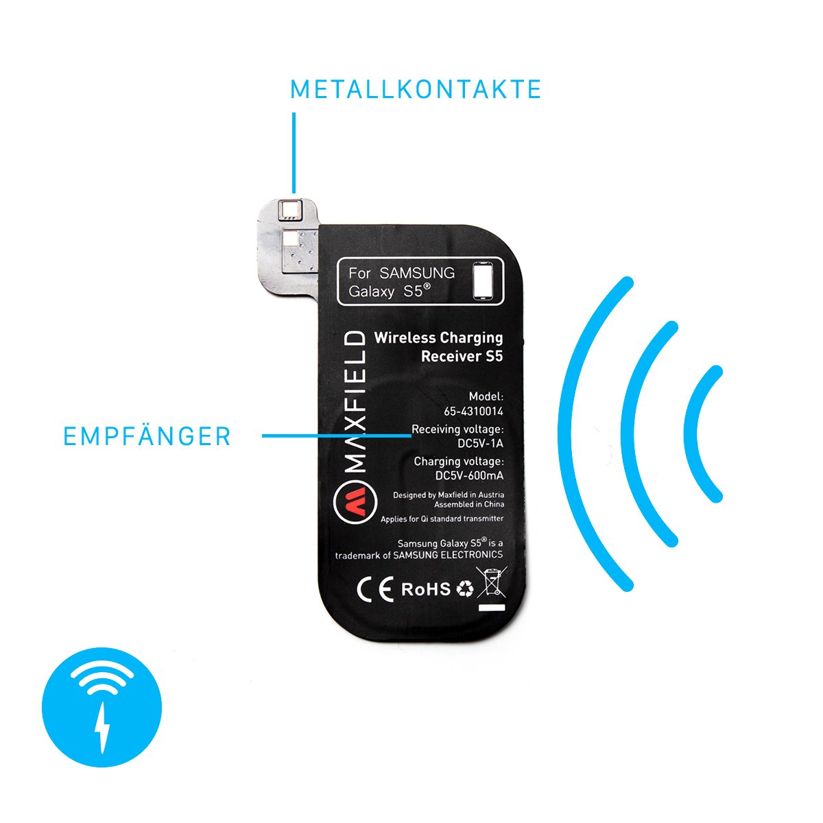 Maxfield Samsung Galaxy S5 Adaptador - Wireless Charging Qi ...