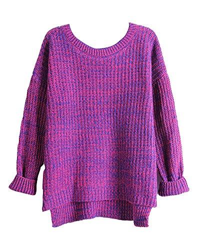 Mujer Otoño Primavera Suéter Loose Pullover Jerseys Manga Larga Camiseta Top Blusa Gris S/M Rosa