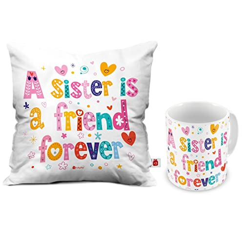 Indigifts Indibni A Sister Is Friend Forever Coffee Mug And Cushion Set With Filler