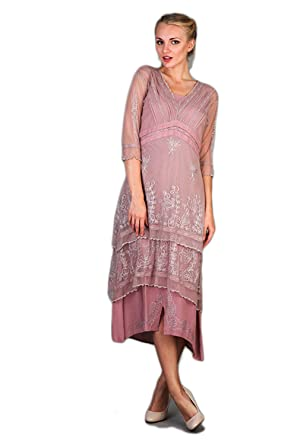 Nataya 5901 Womens Titanic Vintage Style Dress in Lavender/Rose (Large)