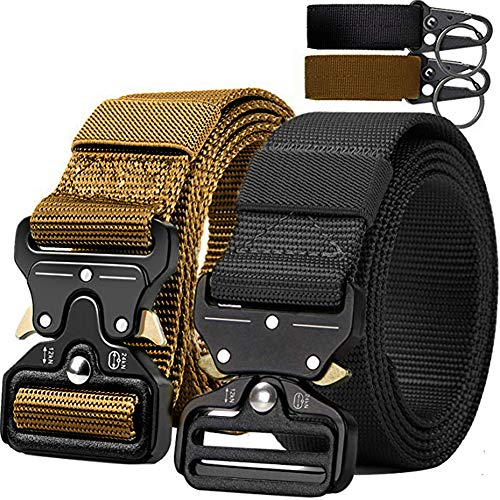 QINGYUN Tactical Belt,Military Style Webbing Riggers Web Gun Belt with Heavy-Duty Quick-Release Metal Buckle with 2 Keychains (Black)
