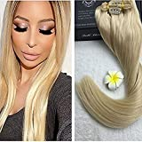 """Fshine 24"""" 140g Color #613 Blonde Remy Remi Human Hair Clip in Extensions 9 Pieces(pcs) Thick to Ends Full Head Set Straight Clip in Extensions"""