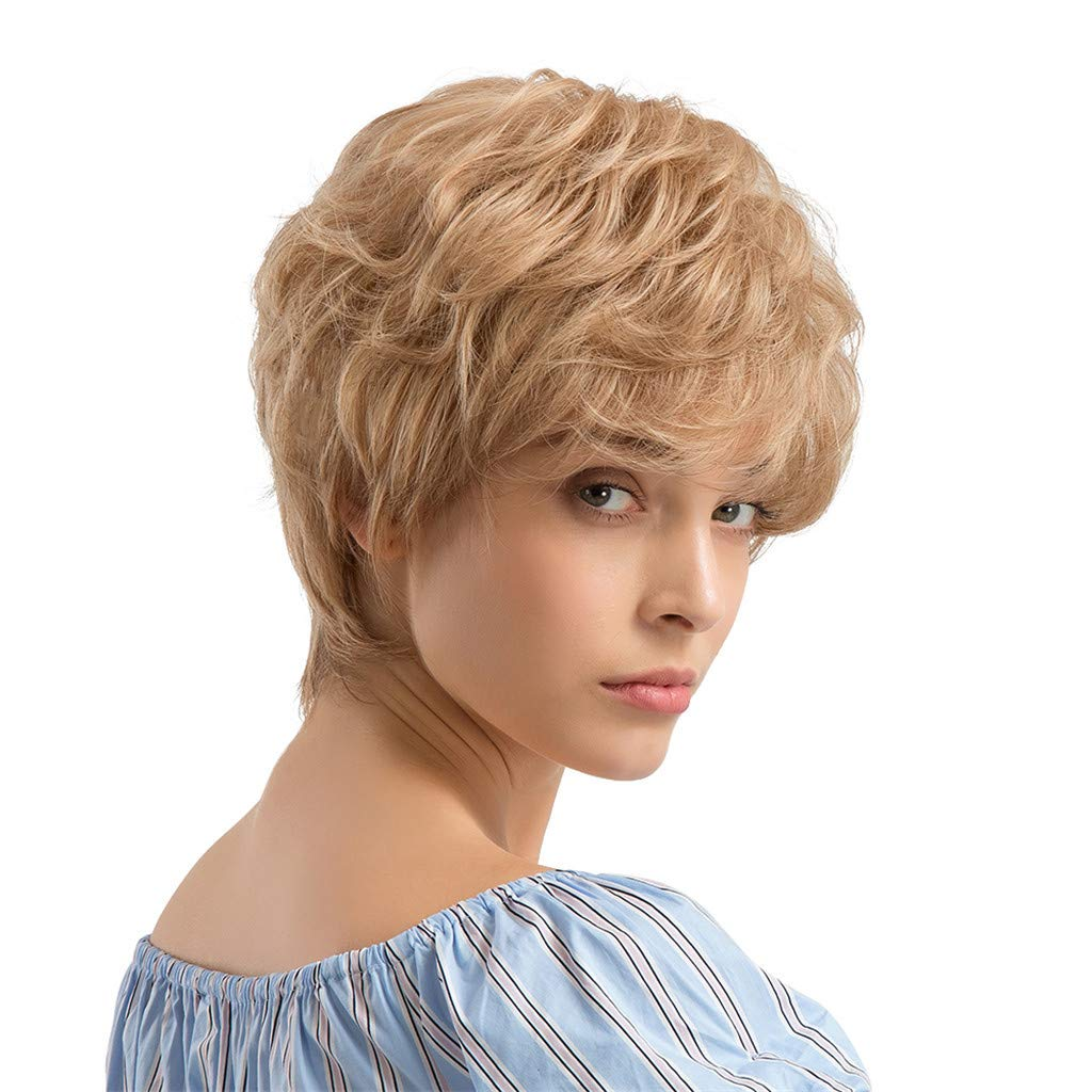Wig,SUPPION 24cm Yellow Short Curly Hair Hairstyle Human Hair Wigs for Beautiful Women - Casual/Cosplay/Party Wig (A)