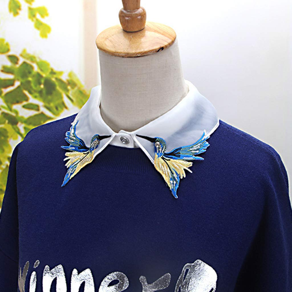 Bekleidung Zubehör Damen-accessoires Frauen Shirt Gefälschte Kragen Krawatte Mode Schwere Vogel Stickerei Kristall Nähen Abnehmbare Kragen Falsche Kragen Revers Bluse Top