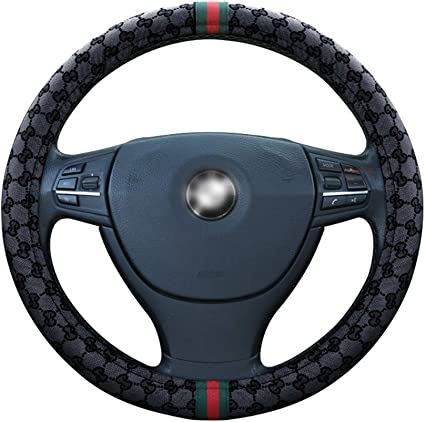 SEG Direct Black Faux Wool Winter Warm Steering Wheel Cover Universal 37-39cm