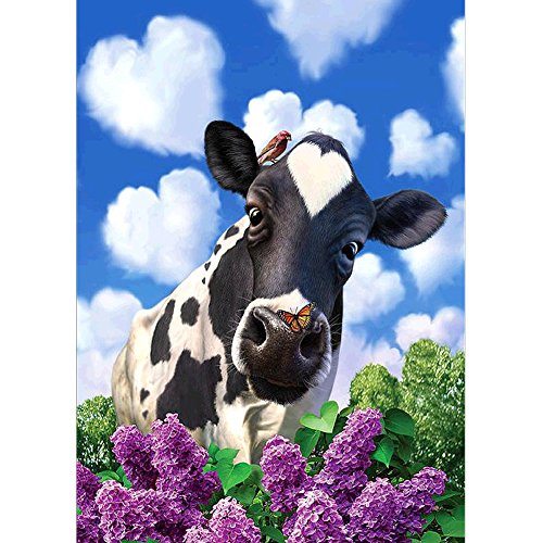 DIY 5D Diamond Painting by Number Kits, Crystal Rhinestone Diamond Embroidery Paintings Pictures Arts Craft for Home Wall Decor, Cow