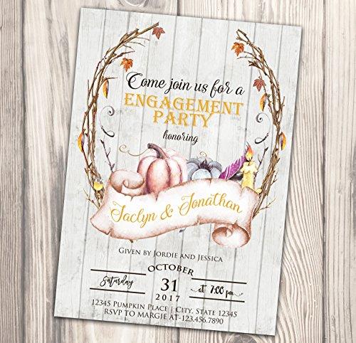 Fall Engagement Party Invitation - Harvest Festival Invite - Pumpkin - Food & Wine - Watercolor - 4x6