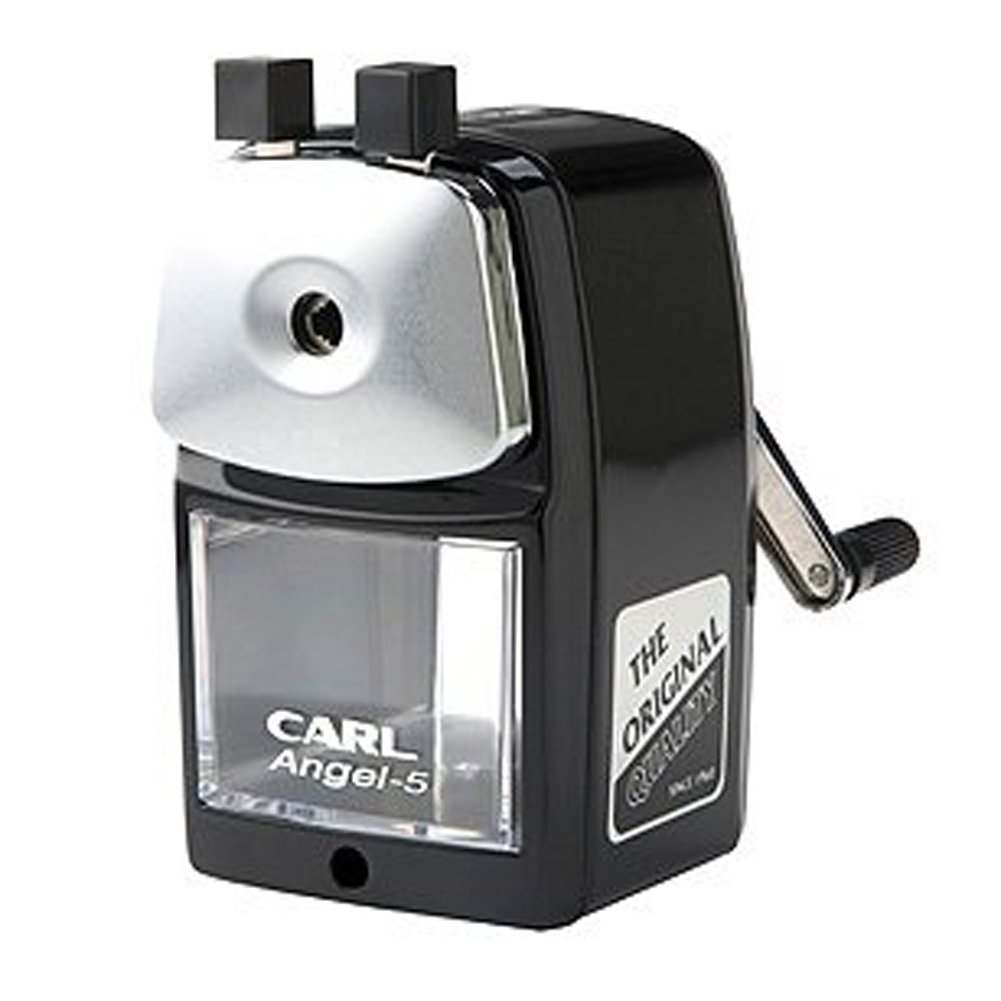 Carl Angel-5 Pencil Sharpener, Black, Quiet for Office, Home and School