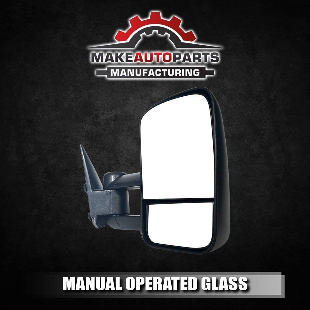 GMC Sierra 1500 1999-2006 Make Auto Parts Manufacturing Passenger Side Textured Black Manual Operated Non-Heated Manual Folding w//o Signal Light Tow Mirror For Chevrolet Avalanche 1500 2002-2006