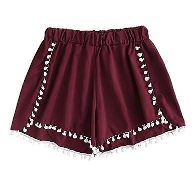 ef7f3406d128 TWIFER Damen Spitze Mittlere Taille Verlieren Hot Shorts elastische Taille  Ringer Strandhose Hosen