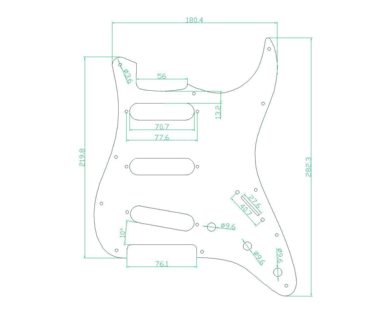 Kmise Z4705 Set Breen Shell Guitar Pickguard Back Plate Tremolo Cavity & Pickup Cover by Kmise (Image #7)