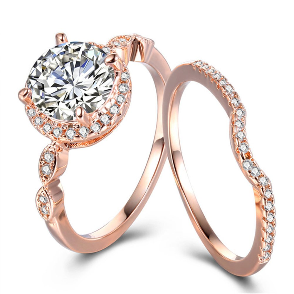 TEMEGO Rose Gold Bridal Sets Wedding Rings for Women, CZ Solitaire Half Eternity Band, Size 7