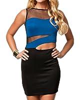 Dissa® Sexy Sleevless contraste de couleur Perspective Filet Mini robe,Bleu,Taille unique