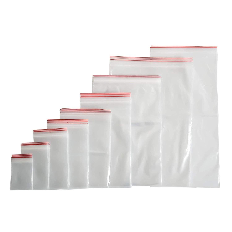 100 bolsas con cierre a presión con cierre de cremallera (40 tamaños a elegir), 5x7, farbenlos, 1