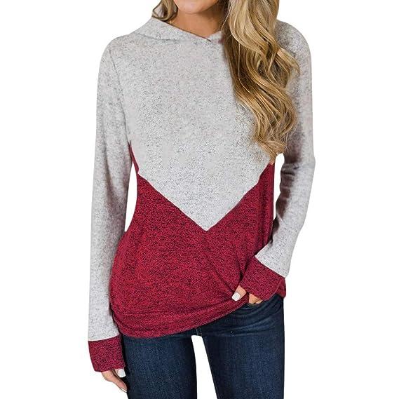 ASHOP Ropa Mujer, Sudaderas Mujer Tumblr largas Blusas otoño Tops Deporte (Rojo,S