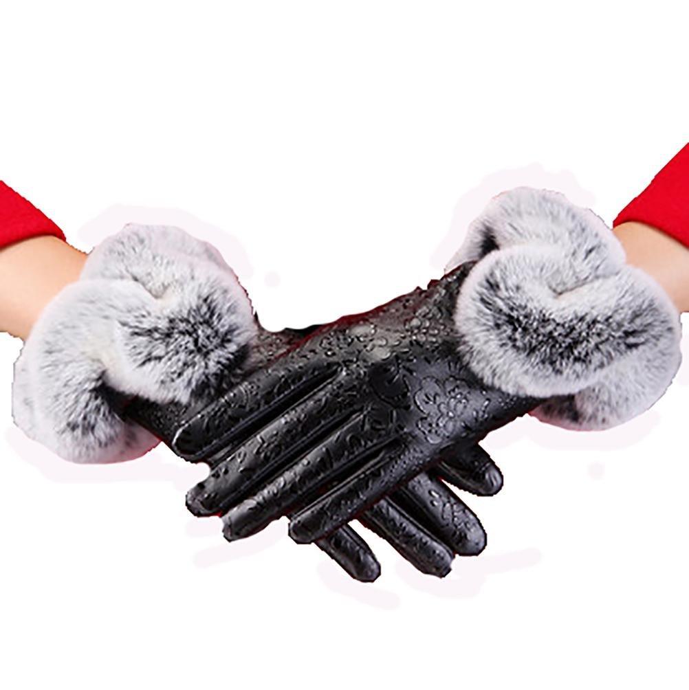 SALY Las mujeres pueden tocar los guantes de cuero otoño e invierno más el terciopelo gruesos guante...