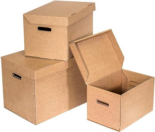 Kartox   Baul Almacenaje De Cartón Multiusos   Cartón ondulado de 3 mm de onda   Color Marrón   Talla L   5 Unidades: Amazon.es: Oficina y papelería