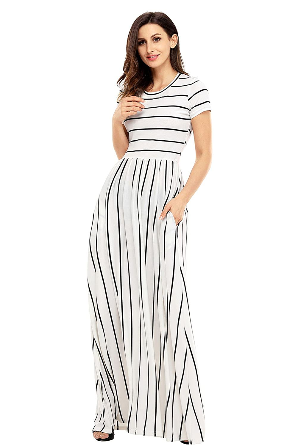 3b70e646fbde8 Lovezesent Women's Casual Striped Loose Plain Long Maxi Dresses with  Pockets at Amazon Women's Clothing store: