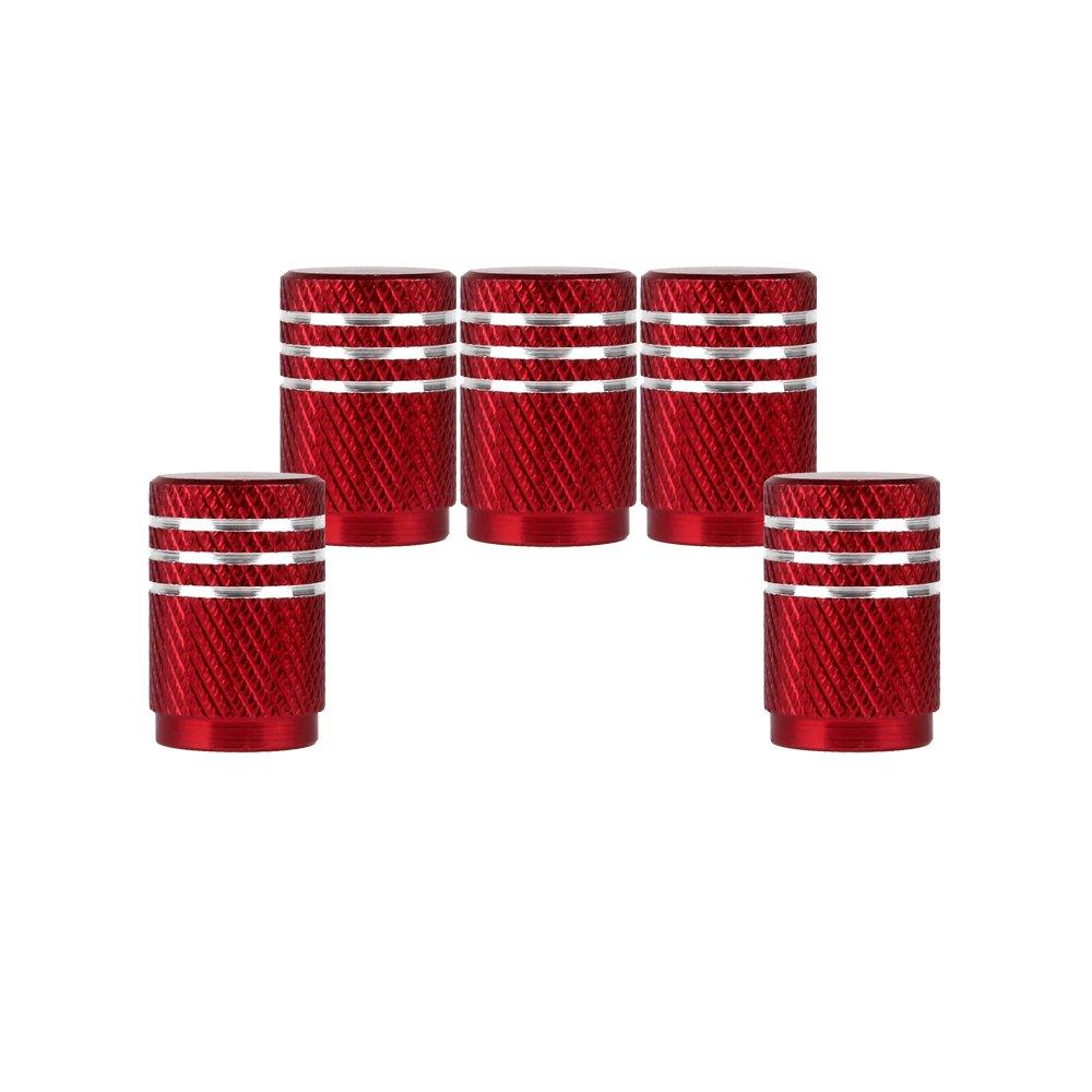 SENZEAL 5pezzi Bordo superiore argento tappi valvola Coprivalvola pneumatici per macchina rosso VEDABC2934