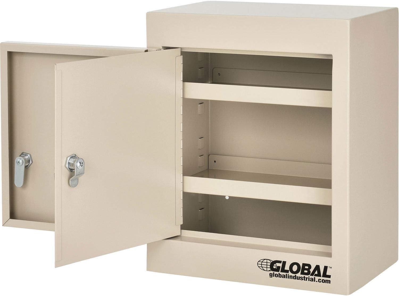 Beige Double Door//Double Lock Small Narcotics Cabinet,12W x 8D x 15H