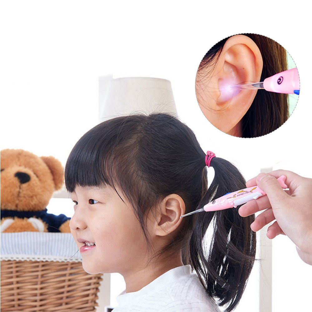 2Pcs ,Color in Random Easily Remove Ear Wax Cleaner Sealive Creative Baby Safe Multifunctional Plastic LED Earpick Tool Set