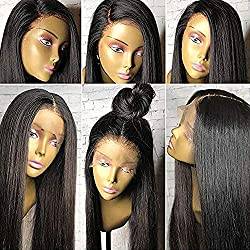 Intuition Hair 13×6 Lace Front Human Hair Wigs 150% Density Straight Pre Plucked Natural Hairline Brazilian Lace Frontal Wigs for Black Women with Baby Hair (16 inch 150% density)