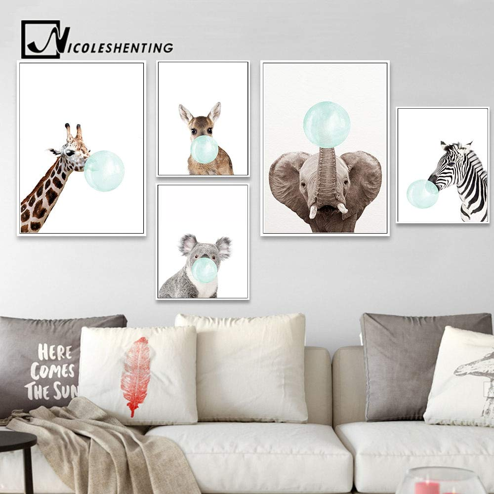 Amazon.com: Chitop Baby Animal Zebra Girafe Canvas Poster - Nursery Wall Art Print Painting Nordic Picture Children Bedroom Decoration (1) (30x40cm): ...
