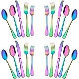 (Rainbow Multicolor) - 20-Piece Stainless Steel Flatware Set,Tableware Set,Dinnerware Set Service for 4, Include Knife/Fork/Spoon/Teaspoon/Fruit fork (Rainbow Multicolor)