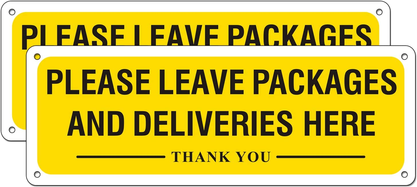 Please Leave Packages and Deliveries Here Metal Sign Aluminum Signage for Home Business Indoor Outdoor Use (2 Pack, 10 x 3.5 inches)