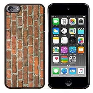 LECELL--Funda protectora / Cubierta / Piel For Apple iPod Touch 6 6th Touch6 -- Pared de ladrillo Brown rústico Orange Street Building --