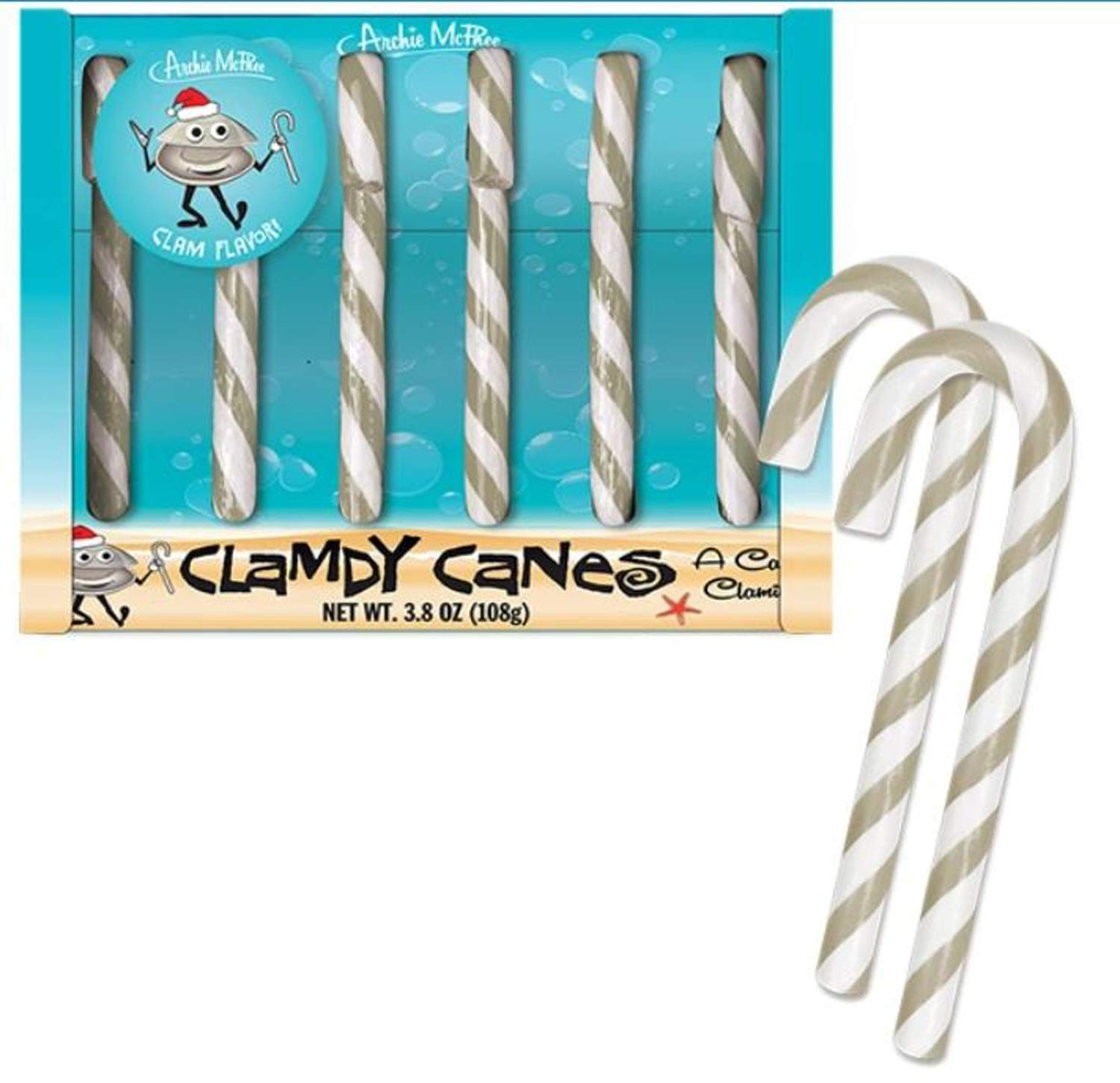Clam Candy Canes - Everyone Needs Clamdy Canes - One shell of a candy