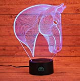 3D Horse Night Light 7 Color LED Touch Table Desk Lamps Energy saving Animal Lights Fashion Creative Home Decoration Gift…