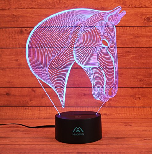 3D Horse Night Light 7 Color LED Touch Table Desk Lamps Energy saving Animal Lights Fashion Creative Home Decoration Gift… by MingXuan