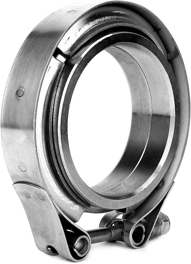 Abgasrohr aus Edelstahl 304 mit 2 teiligem Flansch Kit Yctze 2,5 Zoll V-Band Klemme